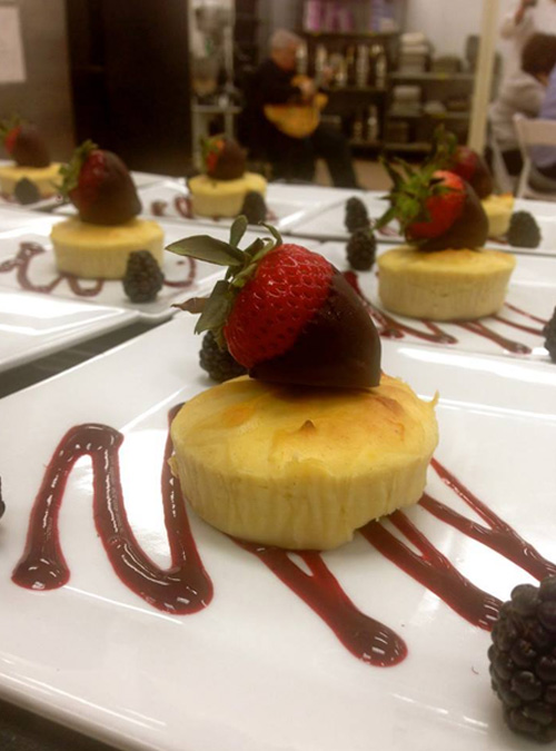 Ricotta Cheesecake with Chocolate Covered Strawberries & Blackberry Coulis